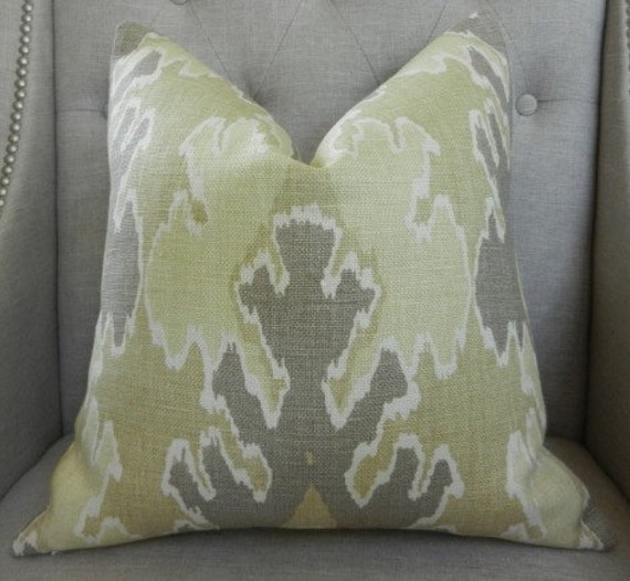 Decorative Designer pillow cover - Kelly Wearstler for Lee Jofa - 18X18 - NEW COLOR - Bengal bazaar in mushroom - Pattern on the front