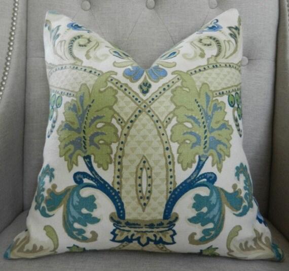 Decorative Designer Pillow Cover - Schumacher Fontenay vase in Pocelain blue - 18X18 - Pattern on the front