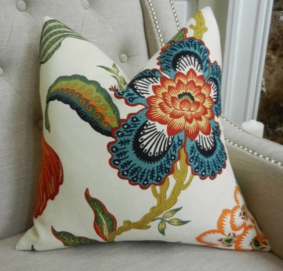 Decorative Designer Pillow Cover - Celerie Kemble  Hot House Flowers in spark - 18X18 - Pattern on the front