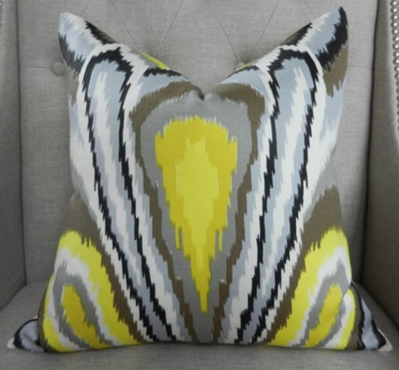 "Decorative designer pillow cover - 18""X18"" - Trina Turk Peacock print in driftwood"