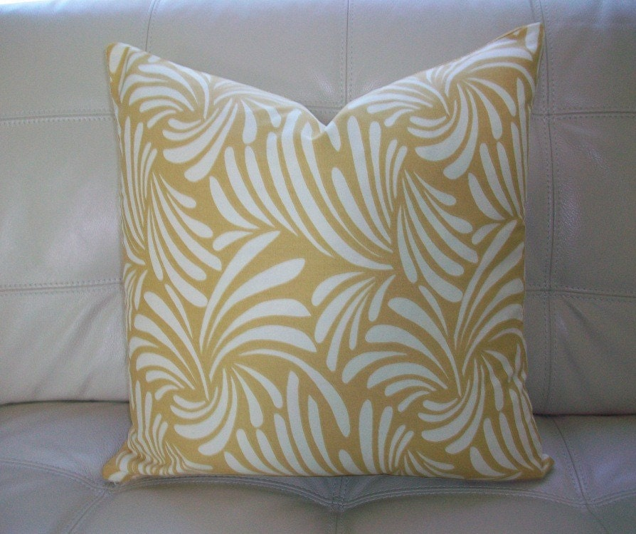 Decorative Cream Pillows : Decorative Designer Pillow Cover 18X18 Gold and Cream