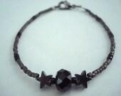 Black Czech Crystal Rondelle and Grey Hematite Star Bracelet Spring Summer Sale