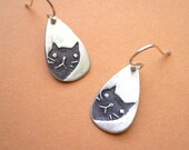 Peeking Cat Earrings - fine silver, lovely kitty jewelry