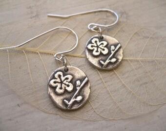 Flower Silver Earrings - Japanese Plum