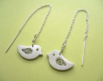 Bird Thread Earrings - handmade silver jewelry