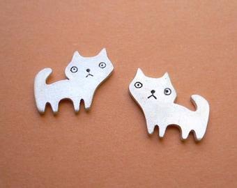 Cat Stud Earrings - Fine Silver Jewelry - Kawaii Earring