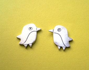 Penguin Stud Earring - Artisan Silver Jewelry