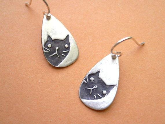 Peeking Cat Earrings - fine silver, lovely kitty jewelry