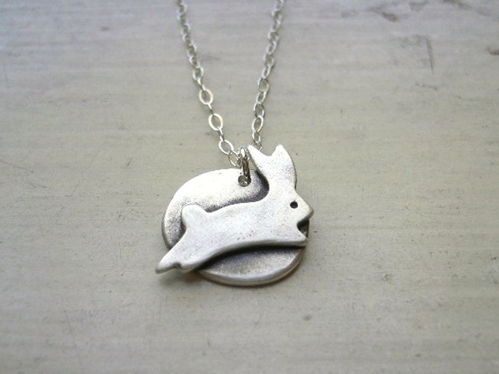 silver bunny necklace jumping rabbit jewelry by studiorhino