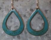enameled copper teardrop earring