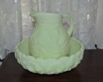 Fenton Pitcher and Bowl in the Glossy Custard  Water Lily design