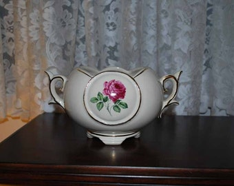 McCoy Antique Rose Transfer Decorated Flower Bowl with gold trim circa 1959