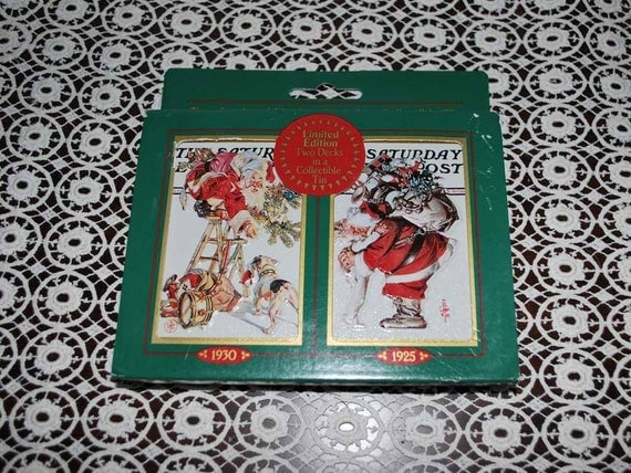 Saturday Evening Post  Nostalgic Santa Claus double deck of  Playing Cards in Tin