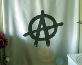 anarchy symbol Shower Curtain letter A Anarchist rebel be free freedom liberty self bathroom decor kids bath curtains custom size long wide