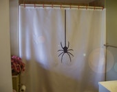 spider surprise Shower Curtain hanging from silk thread arachnophobia EW bathroom decor kids bath curtains custom size long wide waterproof