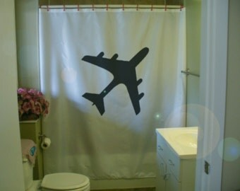 Airplane Shower Curtain Jumbo Jet Silhouette Plane Wing Engine Aeroplane  Aircraft Fly Flight Bathroom Bath Curtains