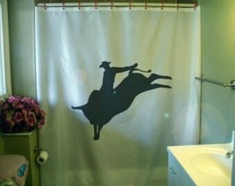 bull rider Shower Curtain rodeo cowboy ride buck horn wild west America bathroom decor kids bath curtains custom size long wide waterproof
