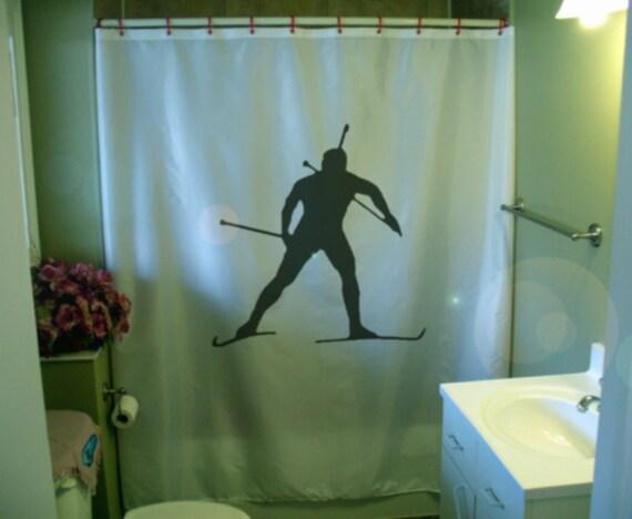 biathlon ski Shower Curtain Skiing skier Olympic winter sport cross country bathroom decor bath curtains custom size long wide waterproof