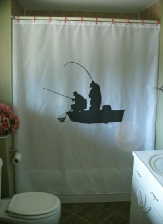 Items Similar To Fishing Boat Shower Curtain Fishermen Rod