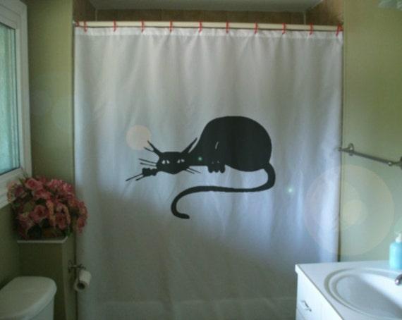 black cat art deco shower curtain nouveau classic cartoon whiskers feline bathroom decor kids bath curtains custom size long wide waterproof
