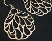 Silver earrings, Large earrings, Butterfly Wings - Gold Plated Medalion Filigree Chandelier Earrings Sterling Silver