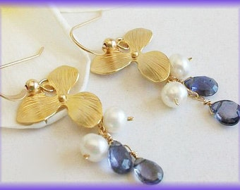 14k GF GP Orchid Iolite Pearl Earrings by AnnTig