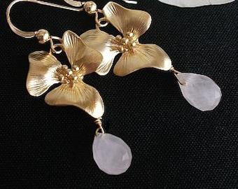 Rose earrings, Pink Earrings, Orchid earrings, Quartz, 14k GF GP Rose Quartz Earrings for Weddings, Anniversary, Bridesmaids gift