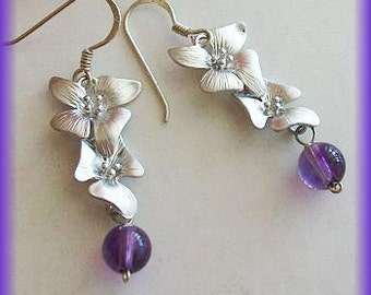 Amethyst Earrings, Purple earrings, purple Jewelry, Silver Double Orchids with round Amethyst Earrings, Christmas, Birthday gift