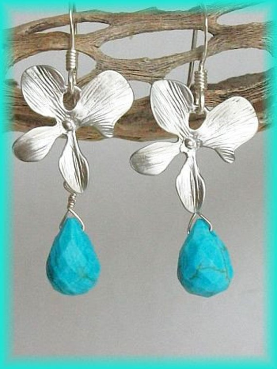 Turquoise Earrings, Briolette earrings, Silver, Orchid Earrings, Orchid Flower Earrings, Free Shipping
