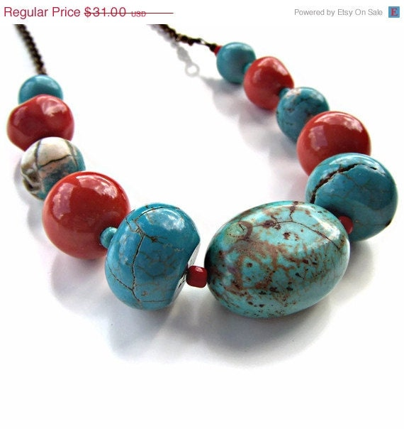 ON SALE Chunky Beaded Necklace- Turquoise, Magnesite, Glass w Antique Bronze Rolo Chain- -ANGENNETTE