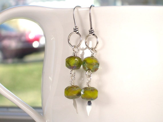 SALE Beaded Artisan Earrings - Green - Chamomile Tea - Sterling Silver Urban Chic Jewelry OOAK Gift for Her -Everyday Eclectic  -- ACADIA
