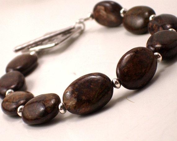 SALE Gemstone Artisan Bracelet / Brown Rustic Woodland / Beaded Boutique Jewelry Under 25 / RAINE