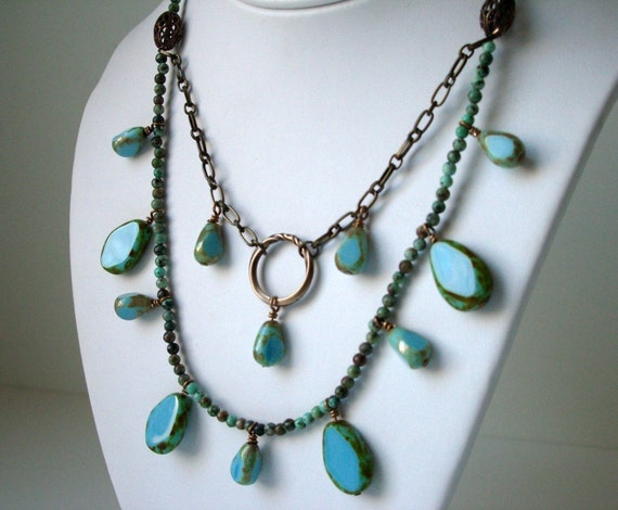 SET Necklace and Earrings - Chinese Turquoise -Mixed Media -Beaded and Chain - Sky Blue -- JASMINE