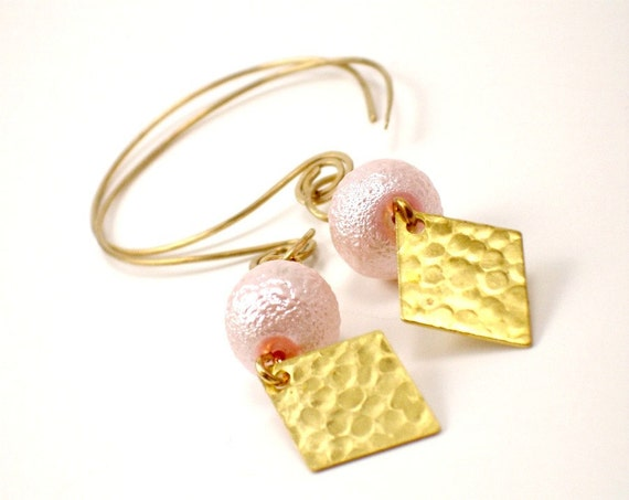 SALE Eclectic Artisan Earrings - Oversized Pink Urban Chic Jewelry - Long Bold Statement Earrings  - Earrings Under 20 - Gift Ideas  NALANI