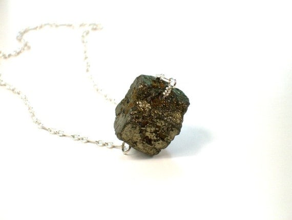 Pyrite Nugget Necklace . Minimalist . Artisan Stone Jewelry . Fools Gold . Understated Gemstone minimal necklace gift for her ALKINA