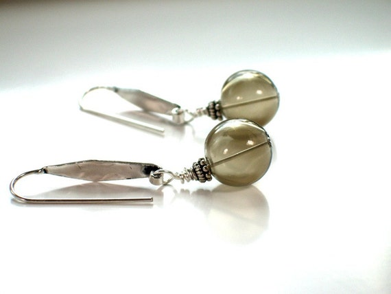 Smoky Artisan Earrings . Urban Chic Jewelry . Grey . Hollow Blown Glass Beads . Hammered Sterling Silver.  FARRAH