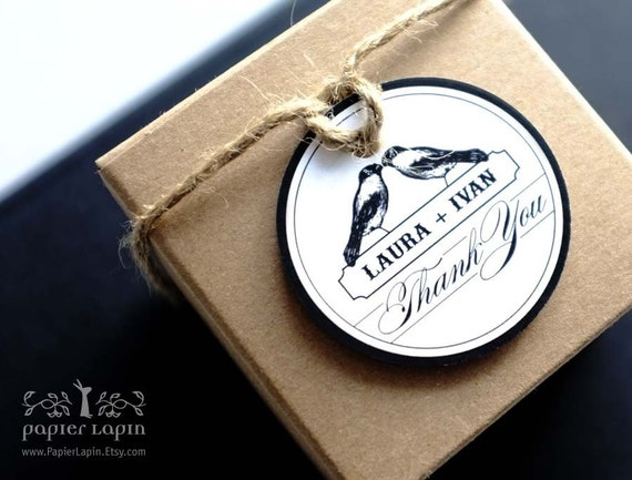 Love Birds Big Round Gift Tag / Set of 50 / Thank You / Gift label, mason jar seal, black & white / Bomboniere packaging