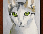 One Serious Pussy Cat- ACEO- Original Painting