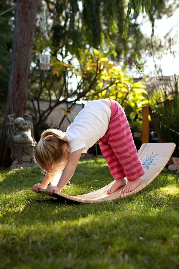 Curvy Board/Balance Board: Natural Finish with a Green Sunburst