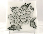 Large Fused Glass Plate, Black and White Peony Platter