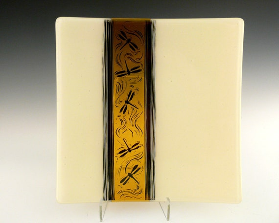 Fused Glass Plate, Ivory and Amber with Dragonfly Design