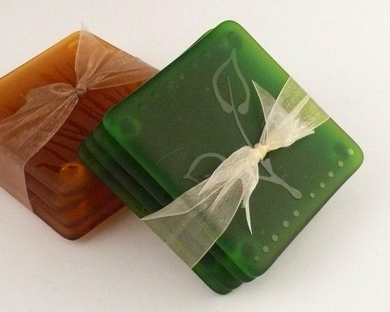 Moss Green Etched Glass Coaster Set, Leaf Design