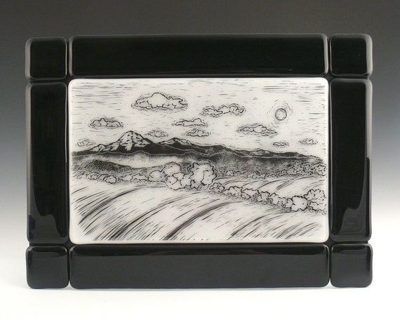 Wall Art, Fused Glass Black and White Landscape