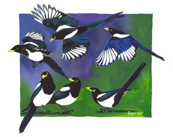 "Limited Edition GICLEE PRINT / ""Tidings of Magpies"" / Watercolor Painting of Magpies"