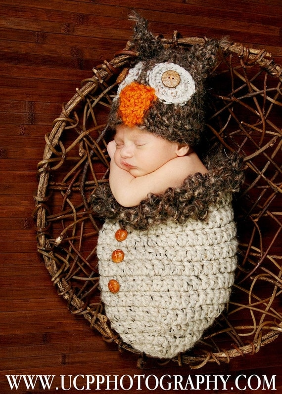 Adorable Newborn Fuzzy Brown Owl Hat and Cocoon Pod with Buttons