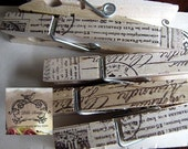 French Script Hand Stamped Ink Clothespins