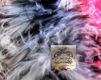 Black and White Small Short Haired Mix Marabou Boa Feathers