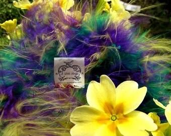 Rainbow Purple, Green and Yellow Marabou Boa Feathers