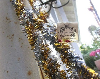 Pipe Cleaner Tinsel Stems Sparkle and Shine Gold and Silver Metallic