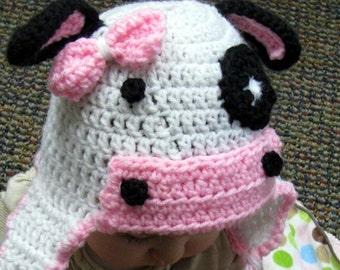 Bessy Crochet Cow Hat, baby, child, cute, girl, toddler, infant, knit, made to order, custom available, adult sizes available,